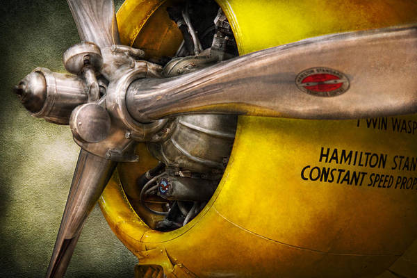 Airplane Print featuring the photograph Plane - Pilot - Prop - Twin Wasp by Mike Savad