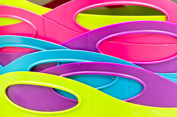 Abstract Print featuring the photograph Plastic Tubs by Tom Gowanlock