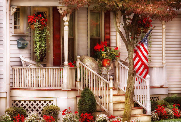 Savad Print featuring the photograph Porch - Americana by Mike Savad