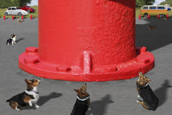 Corgis Print featuring the photograph Postcards From Otis - The Hydrant by Mike McGlothlen