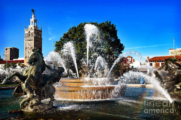 Kansas City Print featuring the photograph Rainbow In The Jc Nichols Memorial Fountain by Andee Design