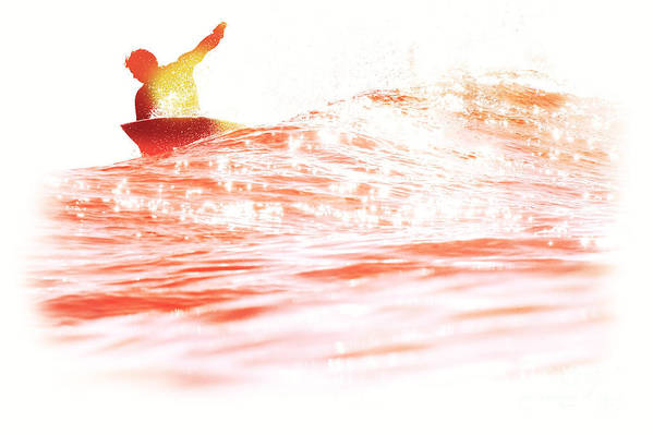 Surfing Print featuring the photograph Red Hot Surfer by Paul Topp