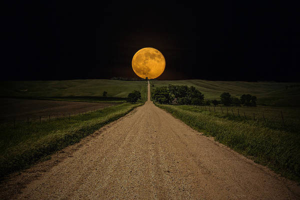 Road To Nowhere Print featuring the photograph Road To Nowhere - Supermoon by Aaron J Groen