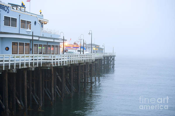 Santa Cruz Pier Print featuring the photograph Santa Cruz Pier In The Fog by Artist and Photographer Laura Wrede