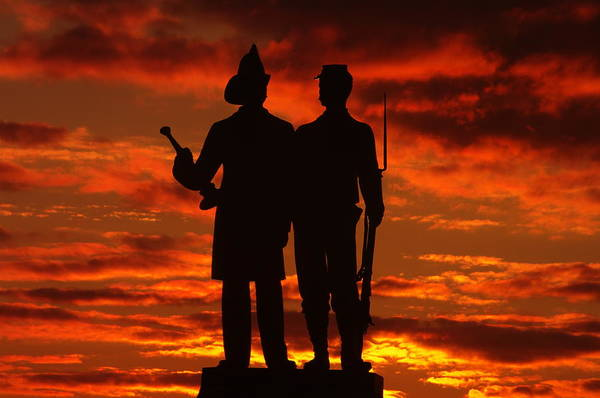 Civil War Print featuring the photograph Sky Fire - 73rd Ny Infantry Fourth Excelsior Second Fire Zouaves-a1 Sunrise Autumn Gettysburg by Michael Mazaika