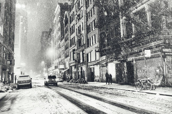 New York City Print featuring the photograph Snow - New York City - Winter Night by Vivienne Gucwa