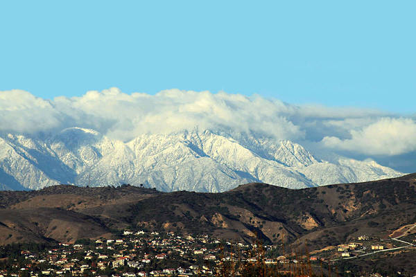 Snowy Mountains Print featuring the photograph Snowy Mountains by Ellen Henneke