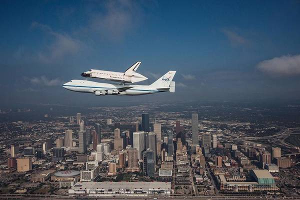Space Shuttle Print featuring the photograph Space Shuttle Endeavour Over Houston Texas by Movie Poster Prints