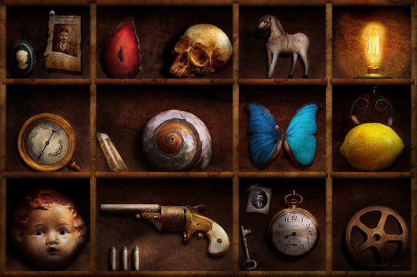 Steampunk Print featuring the photograph Steampunk - A Box Of Curiosities by Mike Savad