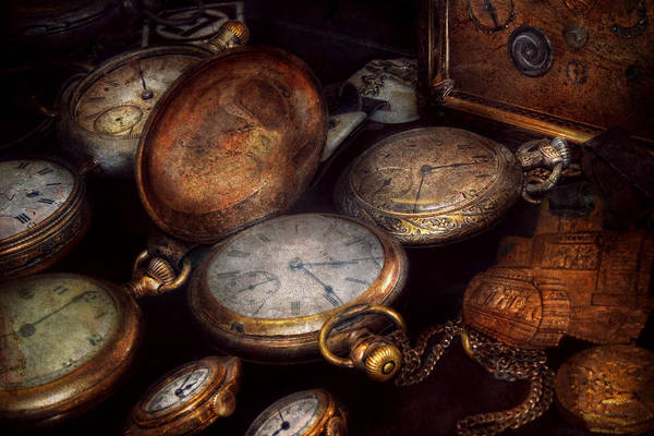 Steampunk Print featuring the photograph Steampunk - Clock - Time Worn by Mike Savad