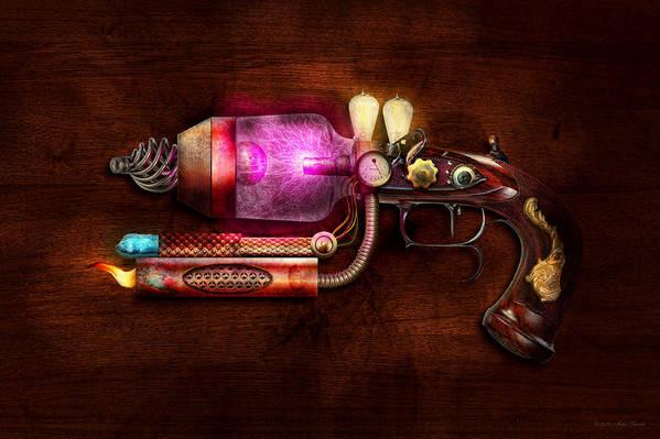 Steampunk Print featuring the digital art Steampunk - Gun -the Neuralizer by Mike Savad