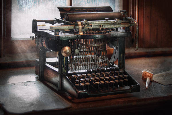 Writer Print featuring the photograph Steampunk - Typewriter - A Really Old Typewriter by Mike Savad