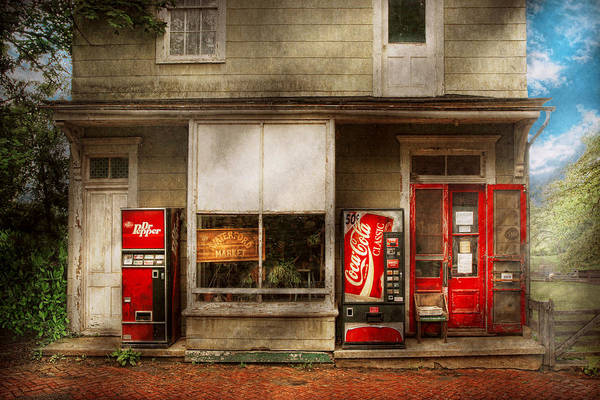 Savad Print featuring the photograph Store Front - Waterford Va - Waterford Market by Mike Savad