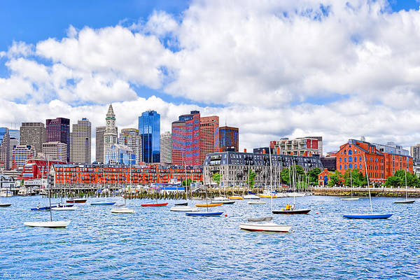 Boston Harbor Print featuring the photograph Sunny Afternoon On Boston Harbor by Mark E Tisdale
