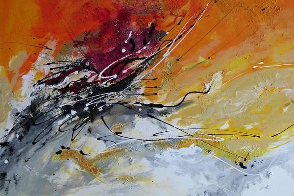 Sunrise Print featuring the painting Sunrise - Abstract Art by Ismeta Gruenwald