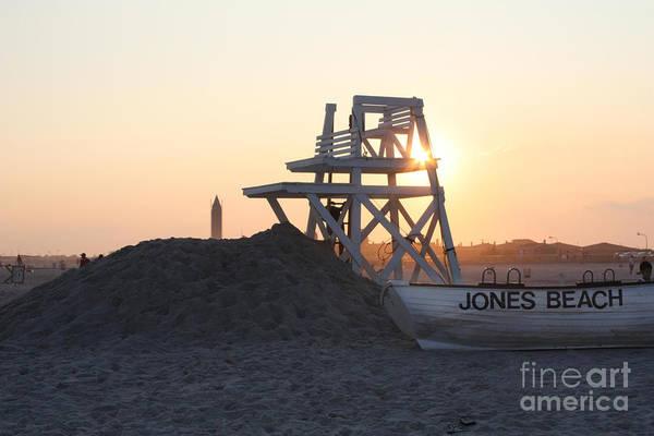 Sunset At Jones Beach Print featuring the photograph Sunset At Jones Beach by John Telfer