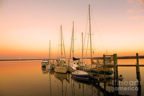 Boats Print featuring the photograph Sunset On The Dock by Southern Photo