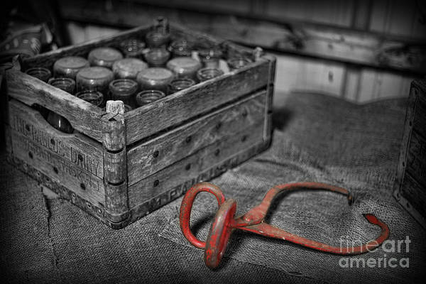 Milk Bottles And Crate Print featuring the photograph The Farmer's Milk Crate by Lee Dos Santos