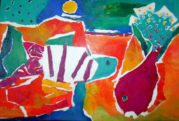 Two Fish Print featuring the mixed media The Fish In The Sea by Diane Fine