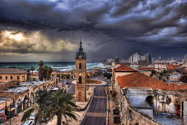 Clock Tower Print featuring the photograph the Jaffa old clock tower by Ronsho