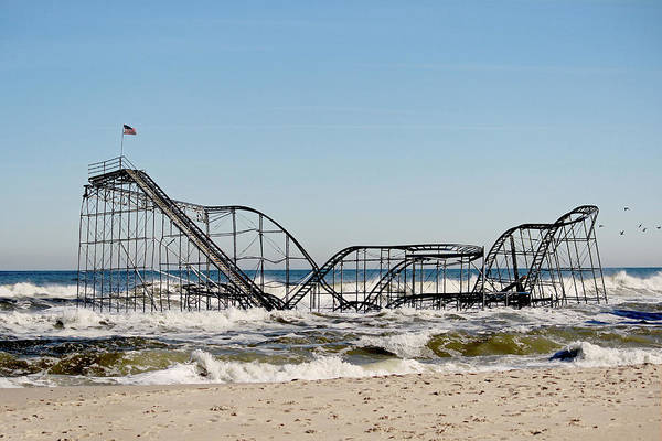 Rollercoaster Print featuring the photograph The Jetstar Remembered- 2012 by Tina McGinley