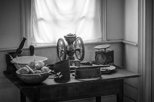 Nostalgic Print featuring the photograph The Old Table By The Window - Wonderful Memories Of The Past - 19th Century Table And Window by Gary Heller