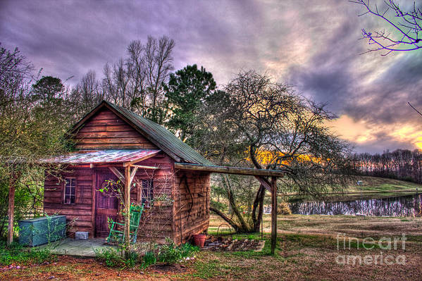Reid Callaway Print featuring the photograph The Play House At Sunset Near Lake Oconee. by Reid Callaway