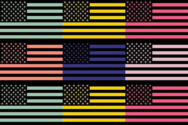 America Print featuring the mixed media The Star Flag by Toppart Sweden