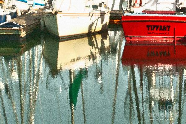 Boat Harbor Print featuring the photograph Tiffany Sailed From San Francisco To Moss Landing by Artist and Photographer Laura Wrede