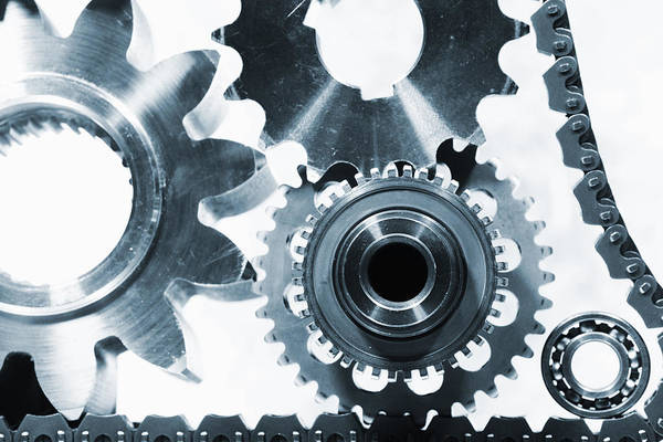 Gears Print featuring the photograph Titanium Aerospace Parts In Blue by Christian Lagereek