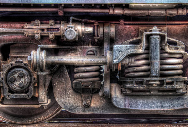 Savad Print featuring the photograph Train - Car - Springs And Things by Mike Savad