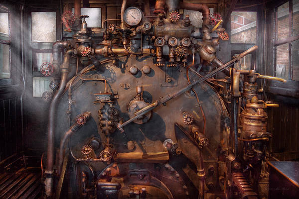 Savad Print featuring the photograph Train - Engine - Hot Under The Collar by Mike Savad