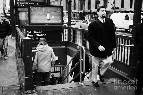 Usa Print featuring the photograph Travellers Exiting And Entering 34th Street Entrance To Penn Station Subway New York City by Joe Fox