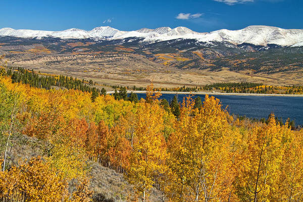 Autumn Print featuring the photograph Twin Lakes Colorado Autumn Landscape by James BO Insogna