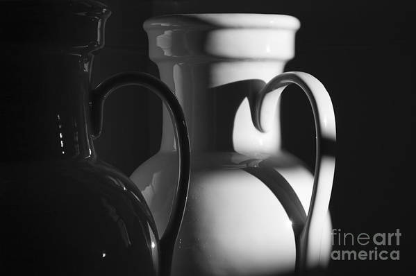 Urns Print featuring the photograph Two In Black And White by Terry Rowe