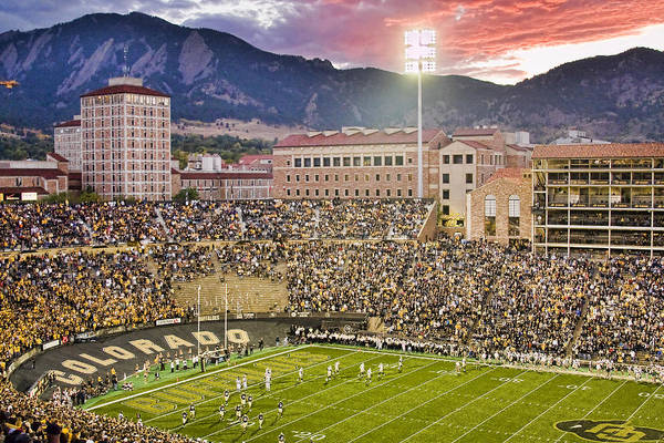 University Of Colorado Boulder Print featuring the photograph University Of Colorado Boulder Go Buffs by James BO Insogna