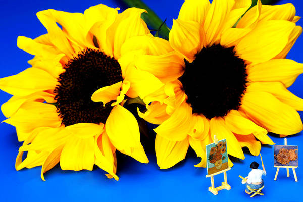 Van Print featuring the photograph Van Gogh's Sunflower Miniature Art by Paul Ge