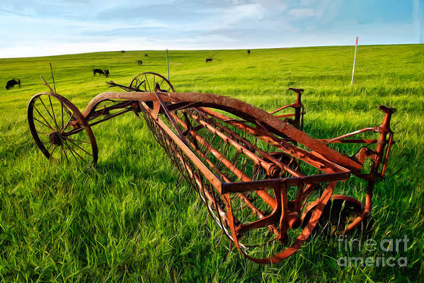 North Carolina Print featuring the painting Vintage Farm Equipment II - Blue Ridge by Dan Carmichael