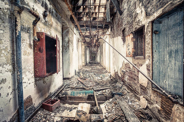 Abandoned Print featuring the photograph Walk Of Death - Abandoned Asylum by Gary Heller
