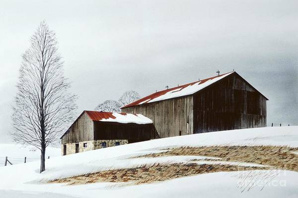 Landscape Print featuring the painting Winter Barn by Michael Swanson