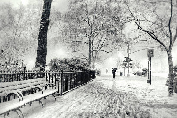 New York City Print featuring the photograph Winter Night - Snow - Madison Square Park - New York City by Vivienne Gucwa
