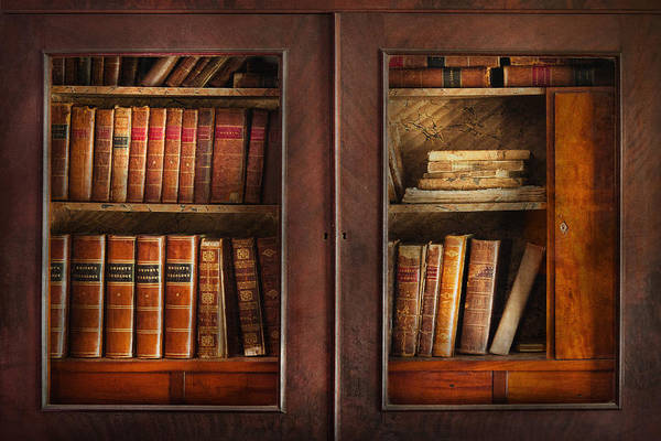 Old Fashioned Print featuring the photograph Writer - Books - The Book Cabinet by Mike Savad