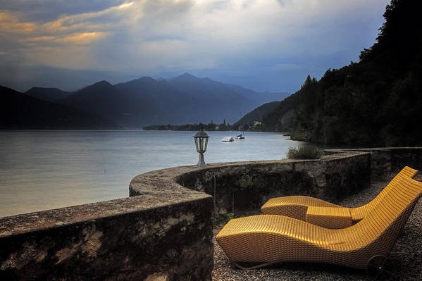 Lake Maggiore Print featuring the photograph Canvas Chairs by Joana Kruse
