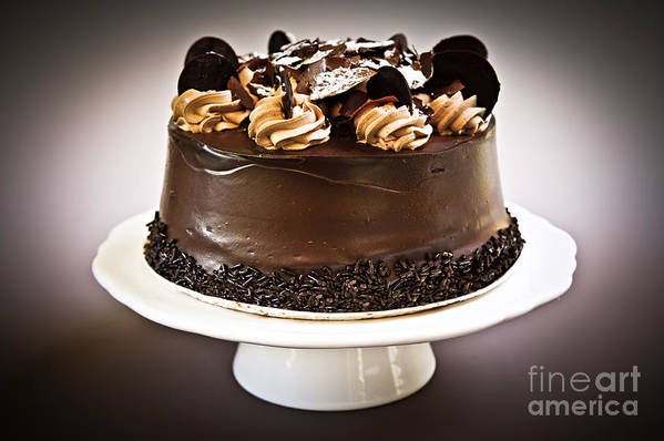 Cake Print featuring the photograph Chocolate Cake by Elena Elisseeva