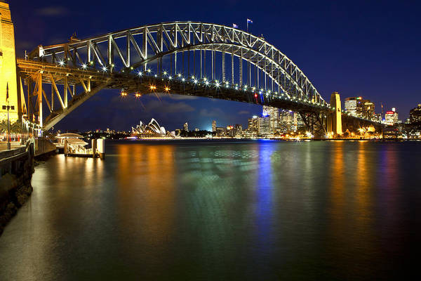 Sydney Harbour Bridge Print featuring the photograph Harbour Lights by Renee Doyle