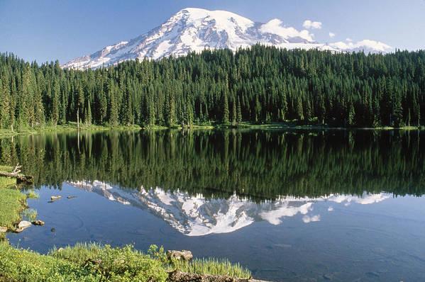 00171283 Print featuring the photograph Mt Rainier Reflected In Lake Mt Rainier by Tim Fitzharris