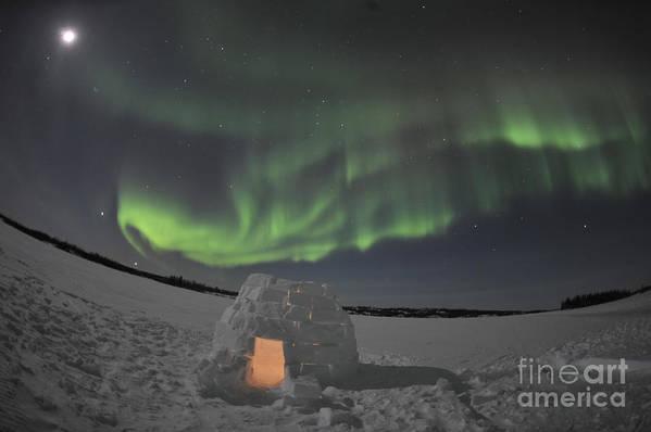 Yellowknife Print featuring the photograph Aurora Borealis Over An Igloo On Walsh by Jiri Hermann