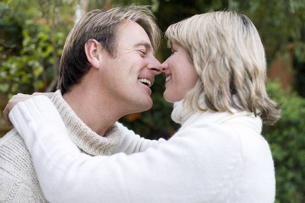 Human Print featuring the photograph Smiling Couple Embracing by Ian Boddy