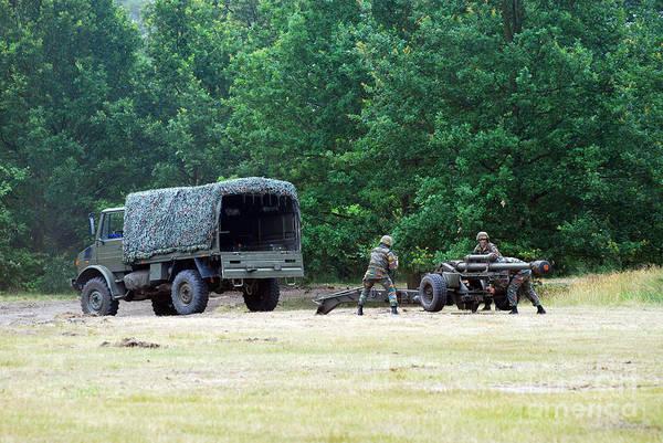 Lg1 Print featuring the photograph A Belgian Artillery Unit Setting by Luc De Jaeger