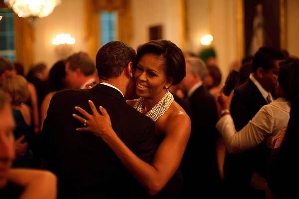 History Print featuring the photograph President And Michelle Obama Dance by Everett